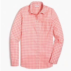 J Crew Factory Pink Gingham Button Up Top